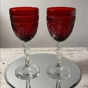 2 Cristal D'Arques Antique Ruby water Goblet